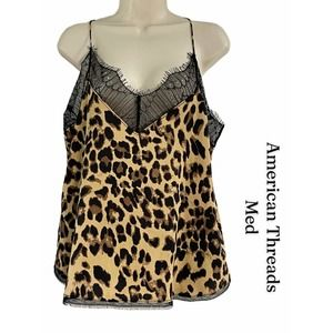 American Threads Leopard Print Cami, MED, EUC